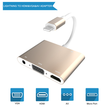 VGA Digital AV Cable Audio Adapter for Lightning To HDMI Video Adapter For iPhone XS Max X XR 8P 8 7P 7 6S 6 for iPad Air iPod for iphone 8pin interface to hdmi vga jack audio tv adapter cable converter for iphone x 8 7 7plus 6 6s for ipad series