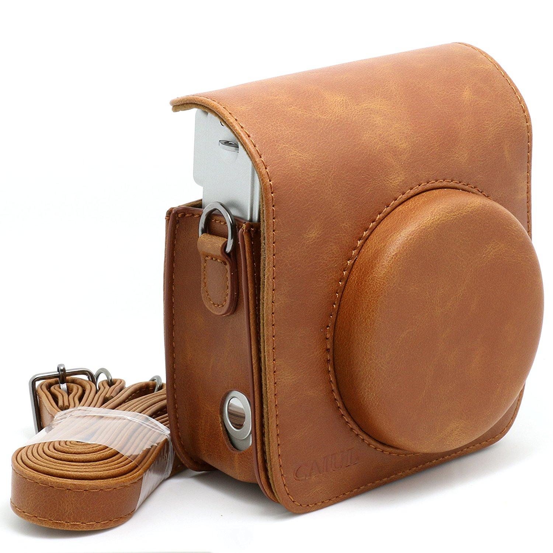 Retro PU Leather Shoulder Strap Camera Bag For Fuji FUJIFILM Instax Mini 90 Camera Carry Cover Case Coffee Color Protect Pouch