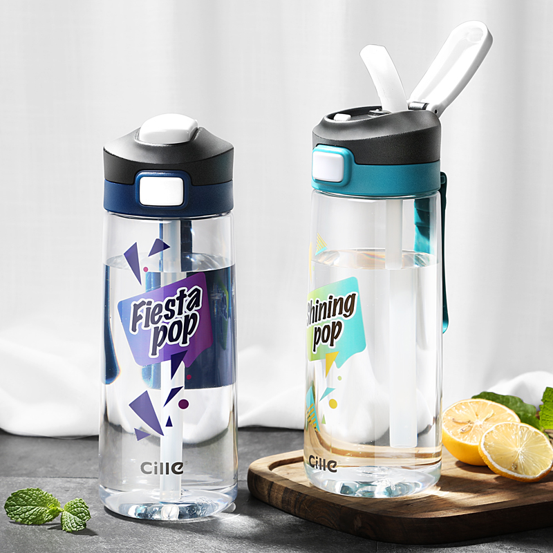 Adult Sport Water Bottle 670ml Tritian BPA Free Drinking With Straw Hiking Tumbler Leak Proof Rope Bicycle Cross-country Bottle