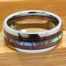Classic Wedding Band Rings Anniversary Gift Engagement Ring 8MM Wide Inlaid Shells With Woods Tungsten Carbide Mens