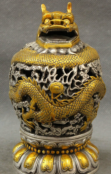 JP S0114 Tibet Silver Gilt Buddhism Dragon Head Ball Statue Box Incense Burner Censer