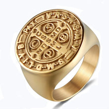 Gothic Men's Cross Ring Christian Jesus Tombstone Religious Rings Men Punk Finger Ring Gold Bible Male Jewelry(China)
