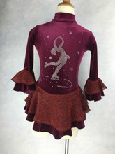 brown skating dress women figure skater hot sale ice skating dress girls custom ice skating clothing free shipping