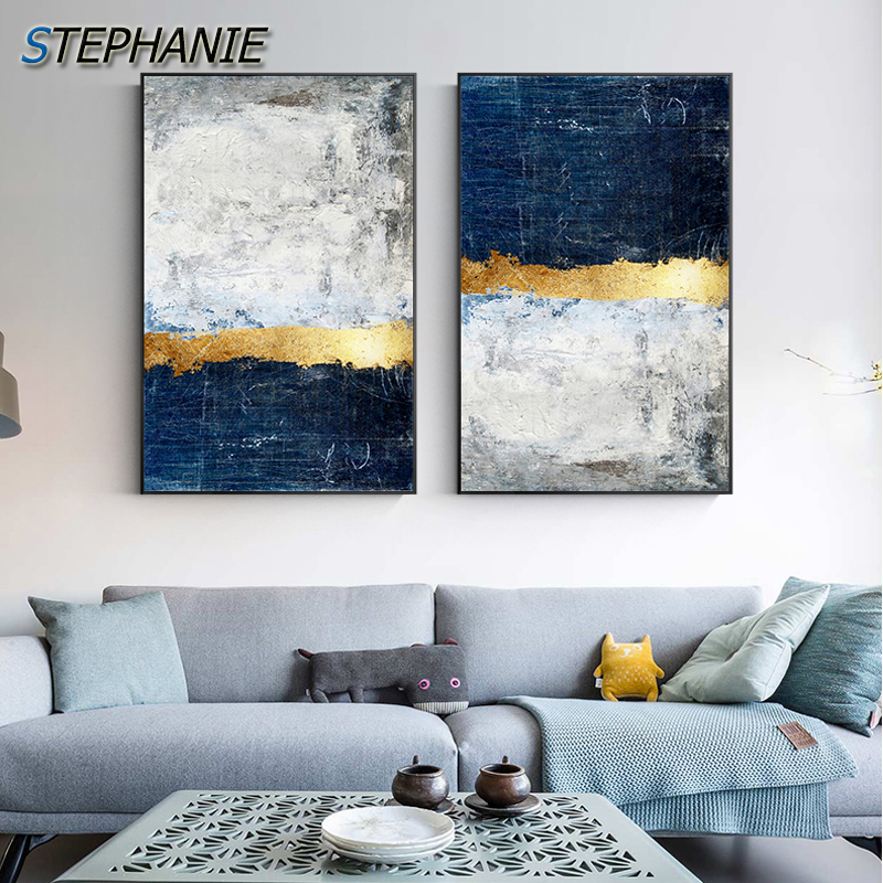 Modern Golden Wall Art Picture Abstract Gold Foil Block Painting Blue Poster Print For Living Room Navy Decor Big Size Tableaux