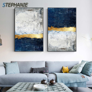 Modern Golden Wall Art Picture Abstract Gold Foil Block Painting Blue Poster Print for Living Room Navy Decor Big Size Tableaux(China)