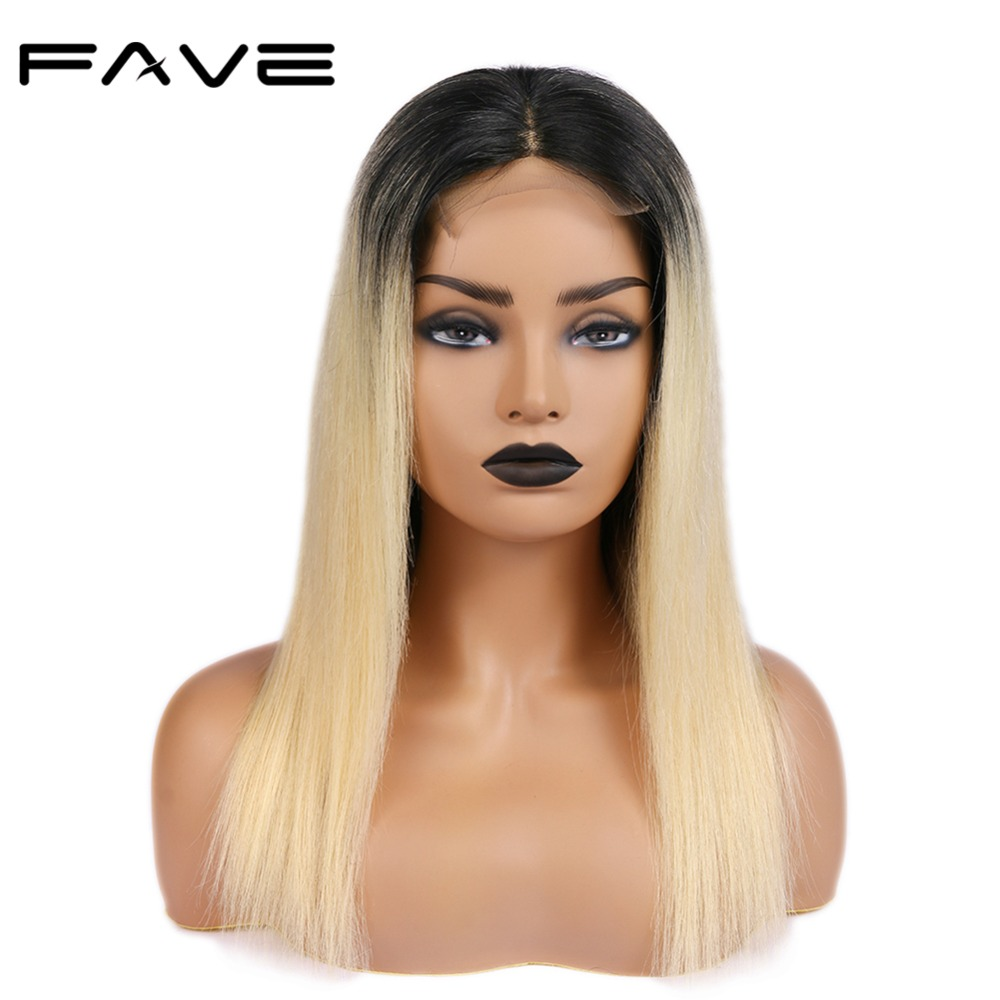 FAVE Hair 4*4 Lace Closure Ombre Wigs 150% Density Brazilian Remy Straight Hair Wig Natural Hairline 1B/613# Color Free Shipping