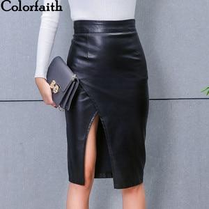 Image 5 - 新 2019 の女性のミディスカート Pu レザー黒ハイウエスト非対称セクシーなスリットペンシルスカートボディコンエレガント Femininas SK8673