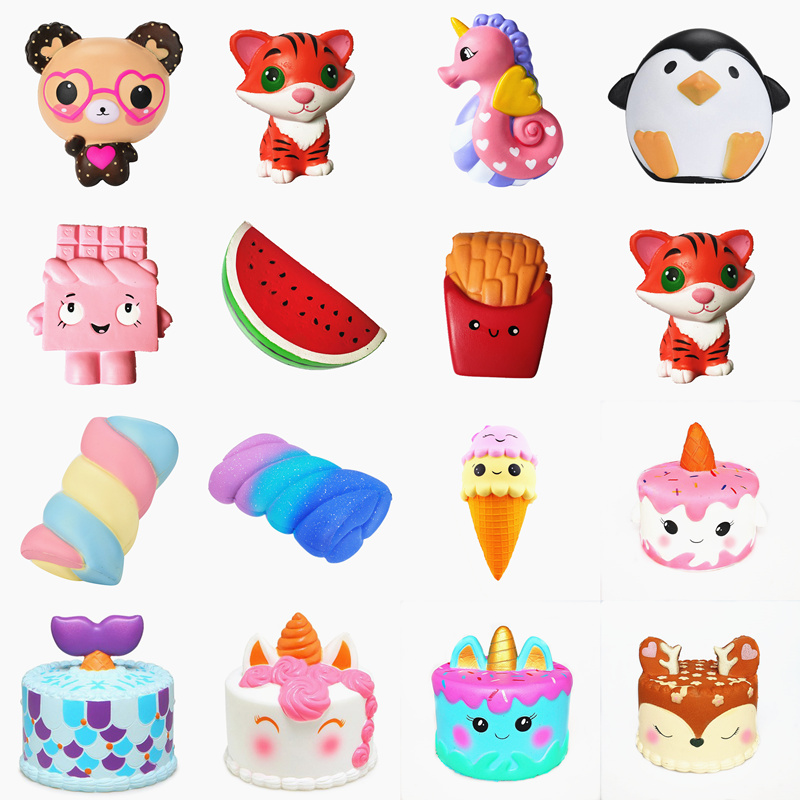 Squishy Slow Rising squeeze toy Narwhal Rose deer cake star deer teeth glasses bear watermelon banana ice cream octopus Cotton  цена