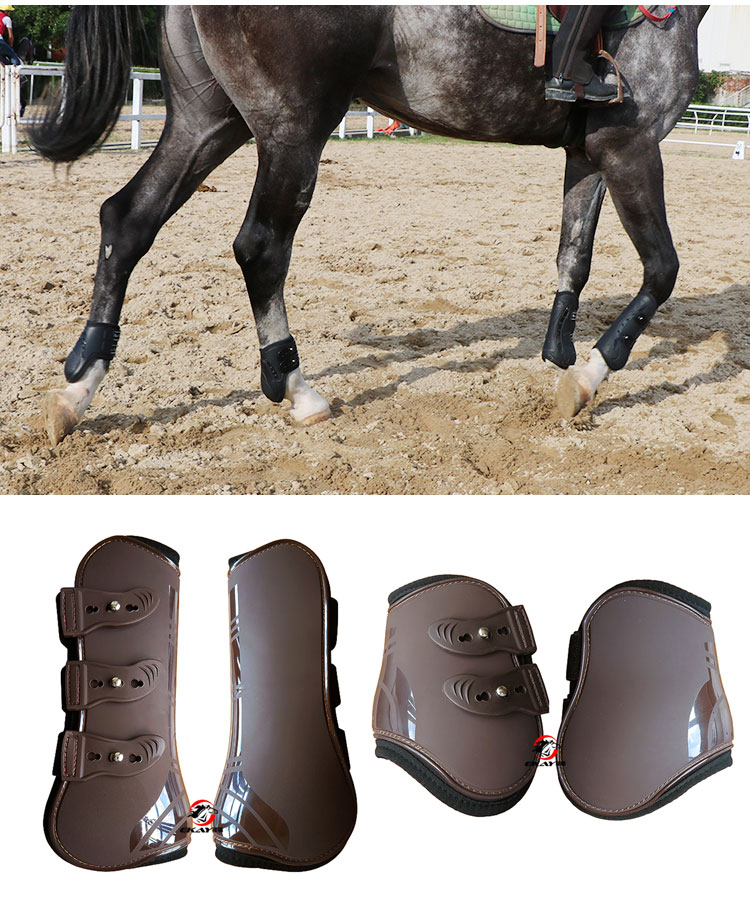 High Quality Adjustable Soft Leather Horse Riding Equestrian Equipment Horse Racing Legging Protector Exercise Boots Bracers A