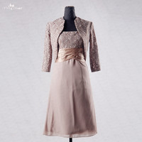 RSE693 Brown Lace Bolero Feminino Festa Mother Of The Bride Dresses Short Knee Length With Jacket Mother Groom