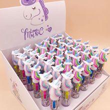 36 יח\חבילה מיני Unicorn Cartoon סיליקון 4 צבעים שמנמן כדורי עט בית ספר משרד אספקת מתנת מכתבים Papelaria Escolar
