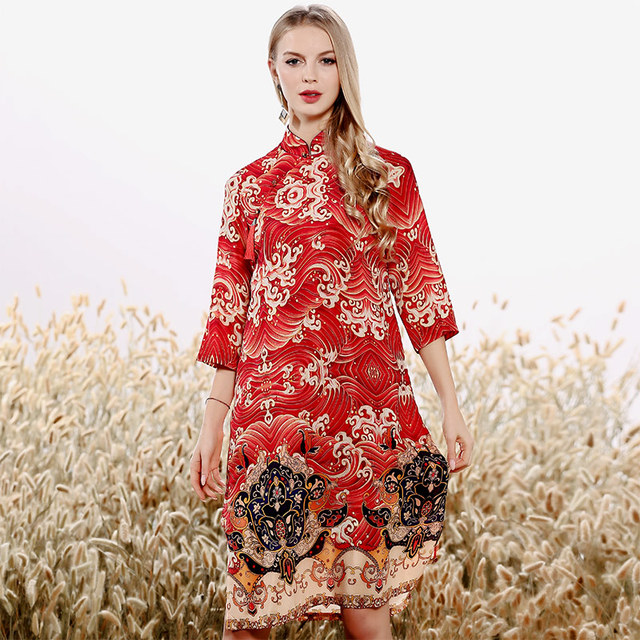 38ea62f949e7e US $128.9 |High end spring and summer women Chinese style floral midi dress  embroidery elegant loose lady A line silk party dress S XXL-in Dresses ...