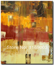 large Abstract modern yellow brown canvas art knife paint oil painting only on canvas for living room wall office decoration