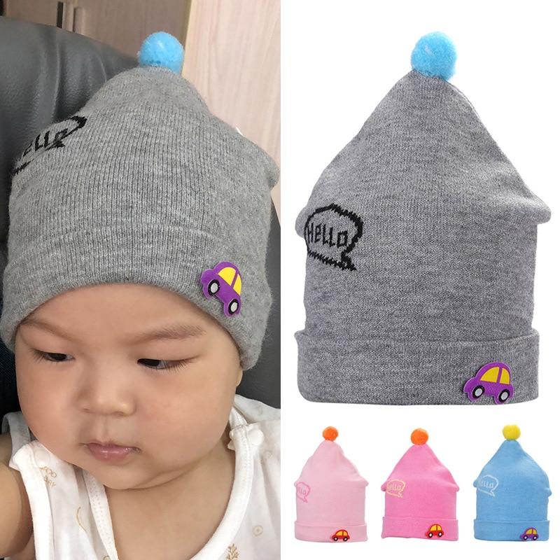 Children Winter Warm Knitted Beanie Cap Cute Cartoon Car Pattern Hair Ball Beanie FS99