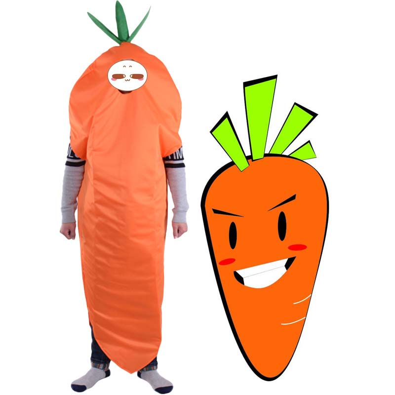 Adult kid vegetable food carrot costume jumpsuit for child boy girl Halloween party cosplay costume clothing
