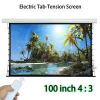 Новое поступление 100 дюймовый 4:3 вкладка натянут фронтальной проекции Экран Дистанционное управление моторизованный Экраны Поддержка 4 К ф