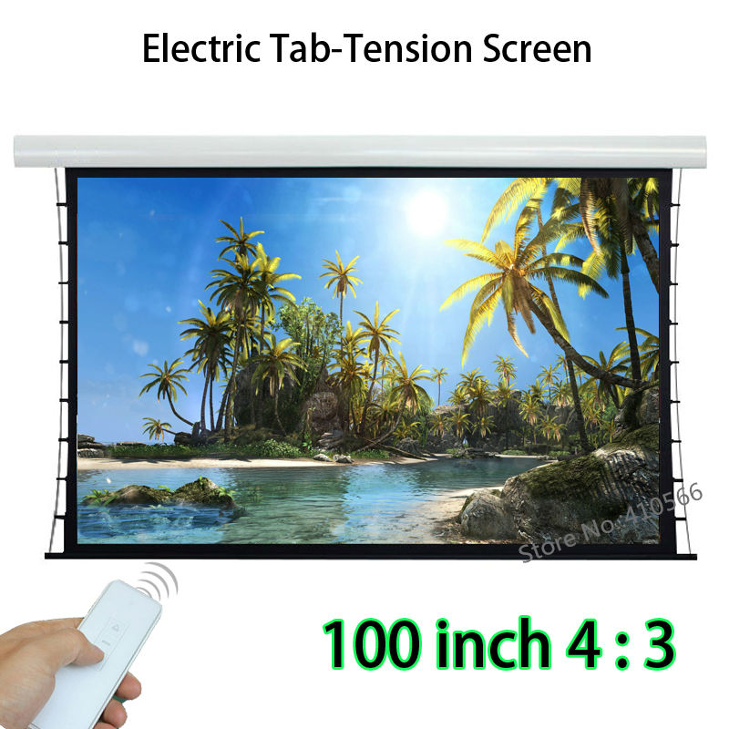 New Arrival 100-inch 4:3 Tab Tensioned Front Projection Screen Remote Control Motorized Screens Support 4K Movie new dimension control levi777t levi777a lcd screens