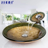 Countertop Basin Sinks Bathroom Victory Vessel Washbasin Tempered Glass Sink With Chrome Waterfall Faucet Sets