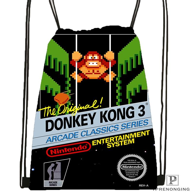 Custom Donkey Kong Drawstring Backpack Bag for Man Woman Cute Daypack Kids Satchel Black Back 31x40cm