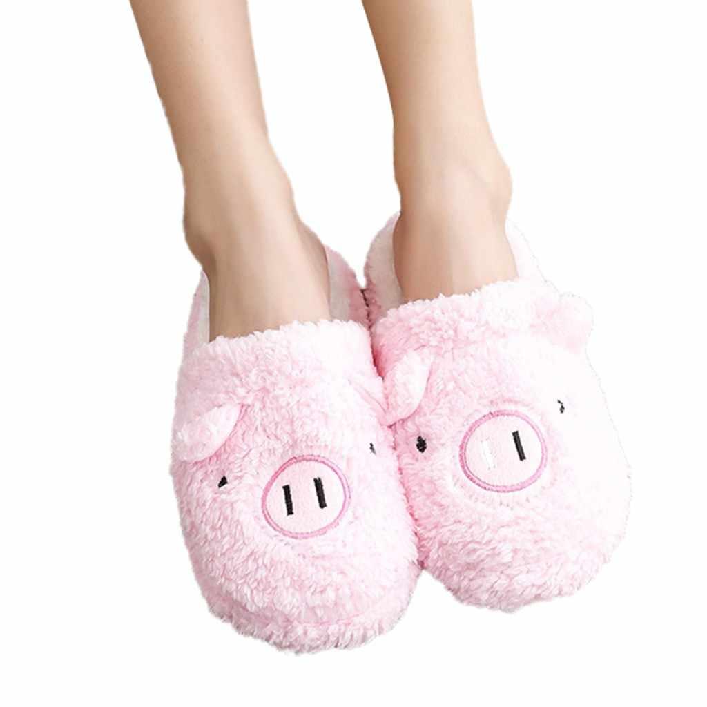 2019 Novas Mulheres Bonitas Do Falhanço de Aleta Da Forma de Porco Bonito Sapatos Meninas Inverno Piso Casa Macio Chinelos Tarja Feminino Primavera Quente sapatos