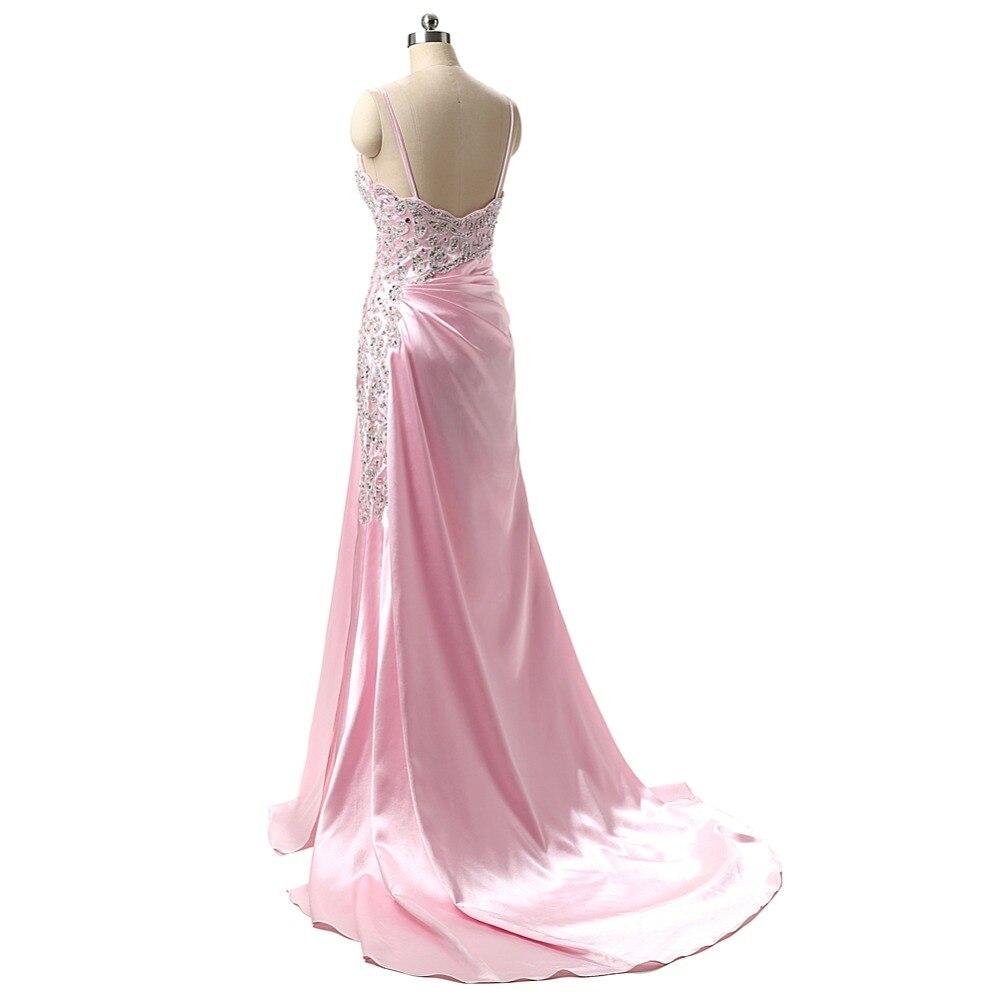 ộ_ộ ༽Muestra verdadera vestido de fiesta elegante Rosa rajó V ...