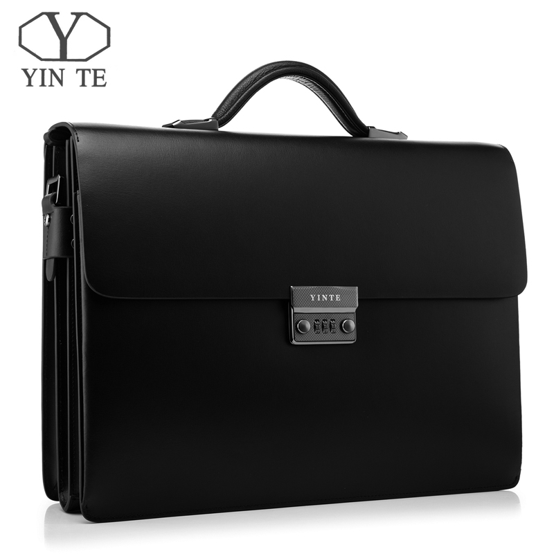 YINTE Leather Black Bag Mens Briefcase Big And Thicker Attache Case Business Messenger Shoulder Lawyer Bag Mens Totes T8191-6