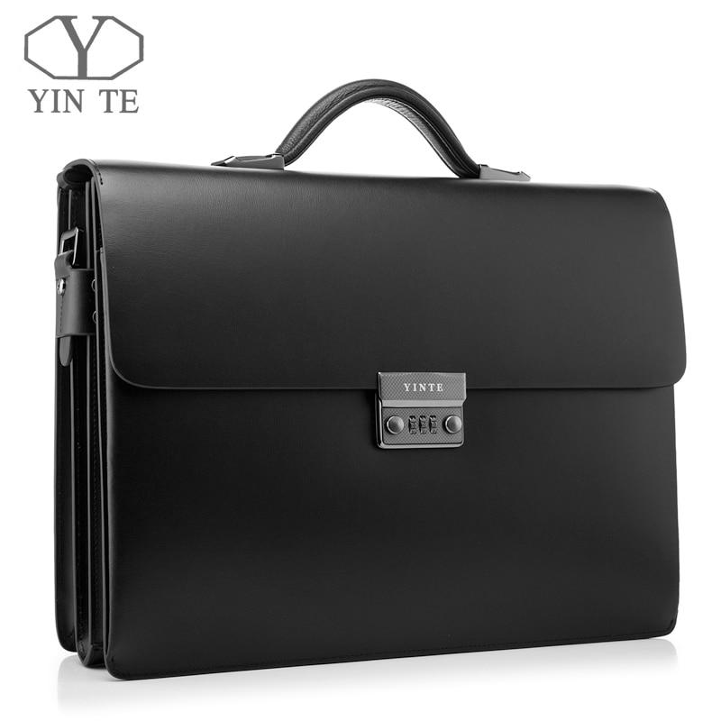 YINTE Leather Black Bag Men's Briefcase Big And Thicker Attache Case Business Messenger Shoulder Lawyer Bag Men's Totes T8191 6