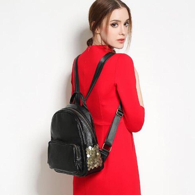 HOT SALE Rock Fashion Women Waterproof Genuine Leather Rock Rivet Backpack Women s Backpacks for Girls