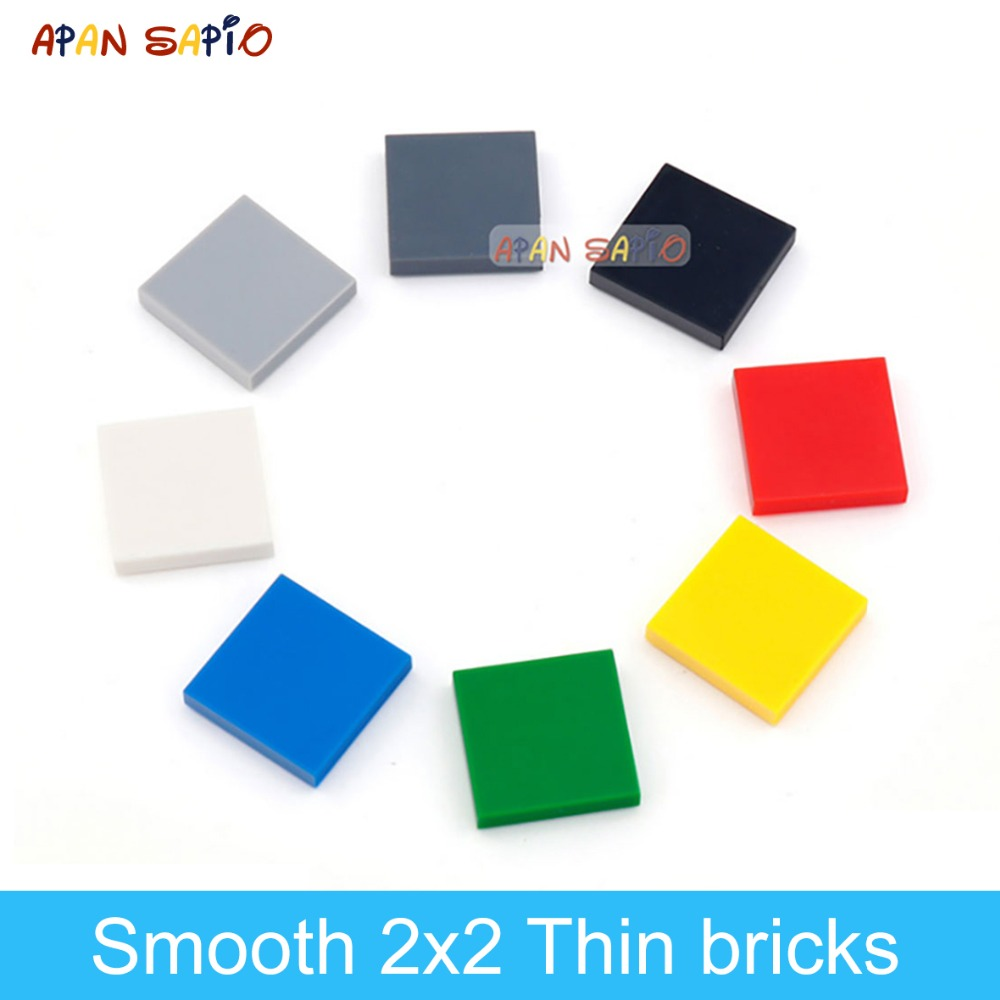 160pcs DIY Building Blocks Figure Bricks Ceramic Tile 2x2 Educational Creative Size Compatible With Lego Toys For Children