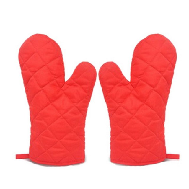 Kitchen Gloves Metal Island Cart 1 Pair Grill Bbq Baking Cooking Glove Oven Heat Resistant Mitts Random Color
