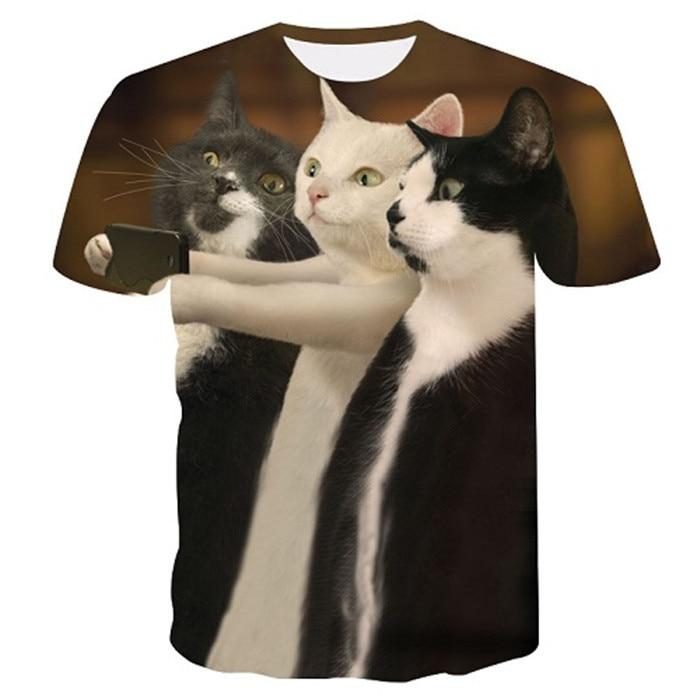 Новинка, футболка для мужчин/женщин, 3d принт, мяу, черный, белый, кот, хип-хоп, Мультяшные футболки, летние топы, футболки, модные 3d футболки, M-5XL - Цвет: txu-163
