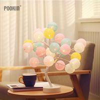 LED Color Cotton Bal Tree Night Light Battery or USB Power Table Lamp Desk Light Decoration For Children's Room/Party/Wedding