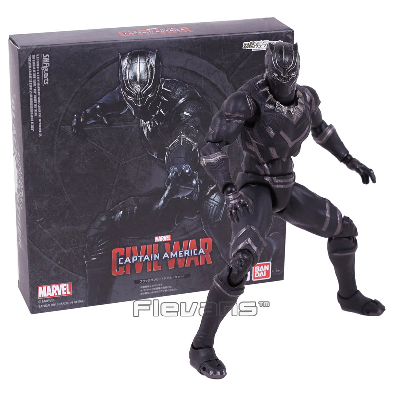 SHFiguarts Captain America Civil War Black Panther PVC Action Figure Collectible Model Toy 16cm captain america civil war bobble head pvc action figure collectible model toy doll 10cm