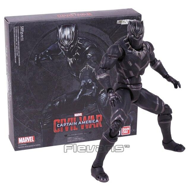 SHFiguarts Captain America Civil War Black Panther PVC Action Figure Collectible Model Toy 16cm