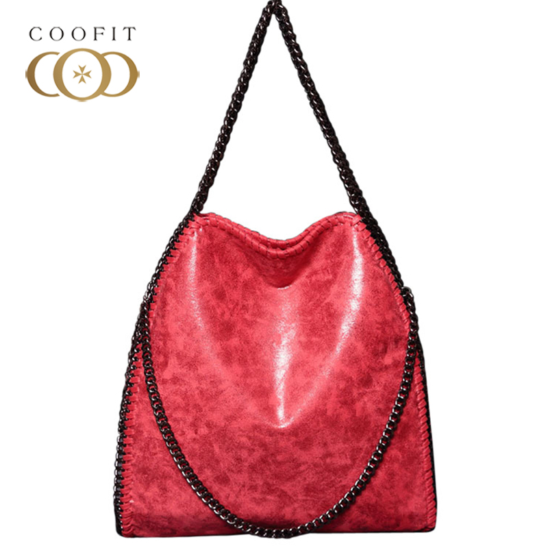 coofit Muti-Colors Girls Shoulder Bag Vintage PU Leather Collapsible Chain Strap Casual Tote Bag For Women Bolsas Feminina Cool