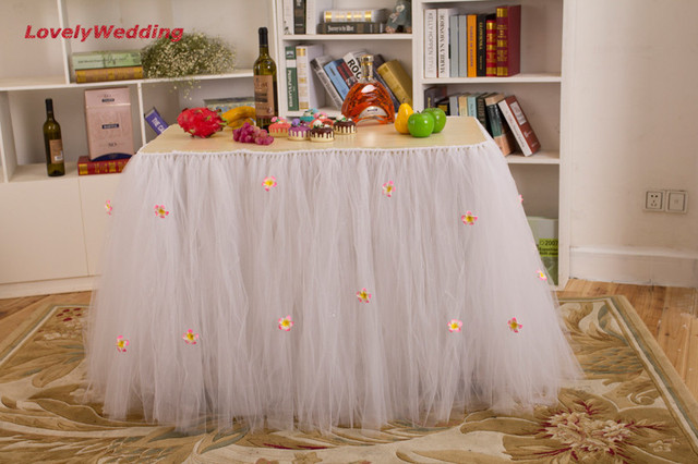 Sweet White Color Tulle Tutu Wedding Table Skirt Princess Table
