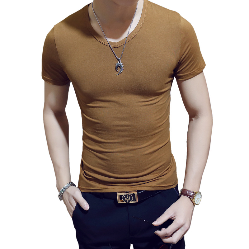 19 Colors Fashion Solid Cotton Man 39 s T shirt O Neck Short Sleeve Tops Tees Fitness Slim Gym Plain T Shirt Camiseta Masculina in T Shirts from Men 39 s Clothing
