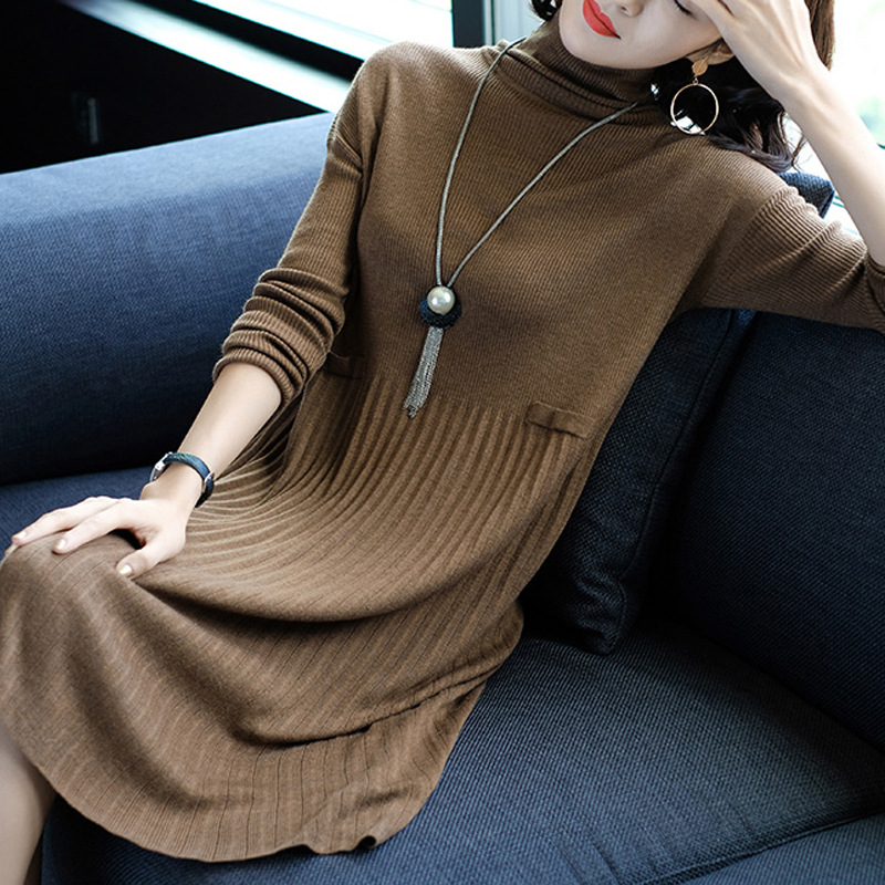 New 2017 Fashion Autumn Winter Dress Loose Knitted Dress Long Sleeve Turtleneck Pleated Sweater Dress Female Vestidos Plus Sizes