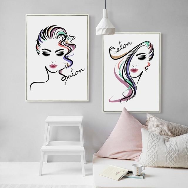 Beautiful Girl Hair Salon Canvas Art Print Poster , Hair Salon Canvas Painting Wall Pictures ...