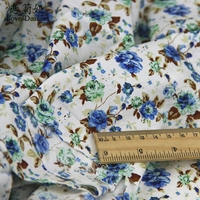 100 Combed Cotton Pastoral Blue Floral Calico Poplin Fabric Thin Textile Cloth For DIY Handwork Summer
