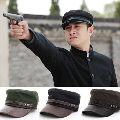 freeship mens Cap men s vintage olive black cadet cap military hat xx15 c5cf861a8a6