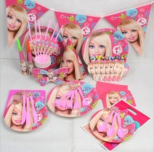 2016 Barbie Doll Girls Kids Party Supplies Themed Birthday Party Baby Shower Christen Birthday Party Set Includes Fork Knives