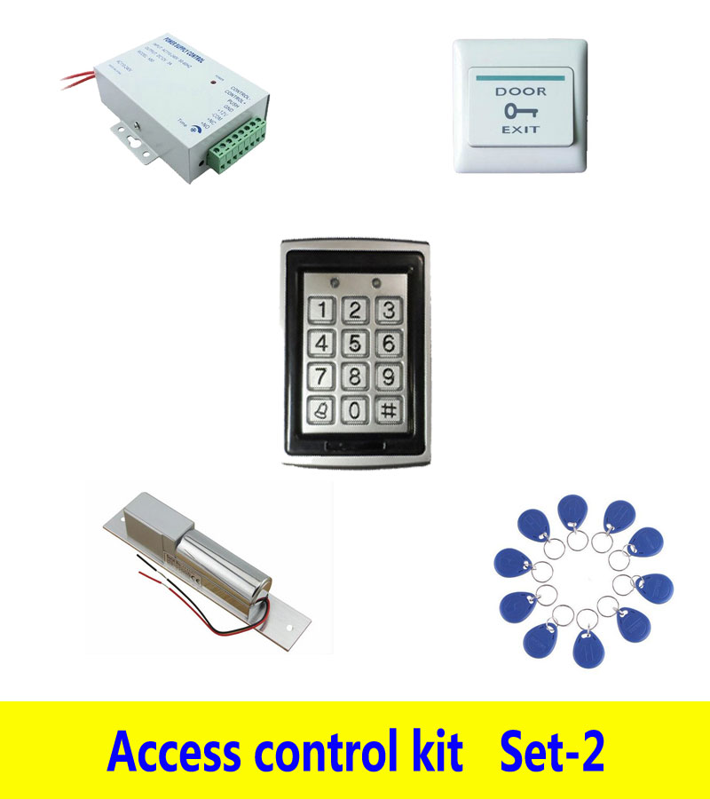 Metal Access control kit,em/ ID keypad access control+ power+bolt lock+exit button+ 10 keyfob ID tags,sn:Tset-2 free ship by dhl access control kit waterproof access control switch power electric mute lock exit button 10 em cards sn em t10
