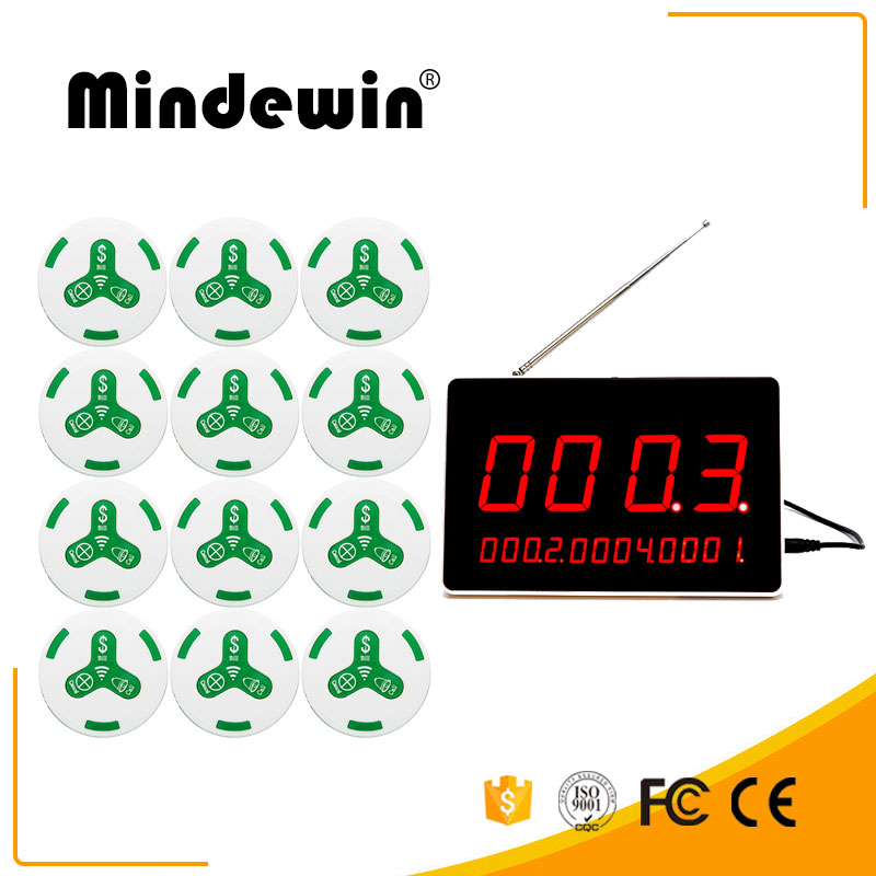 Mindewin Restaurant Pager Wireless Calling System 12PCS M-K-1 Call Bell and 1PCS M-R-1 LED Display Show 4 Groups Call Numbers wireless bell button for table service and pager display receiver showing call number for simple queue wireless call system