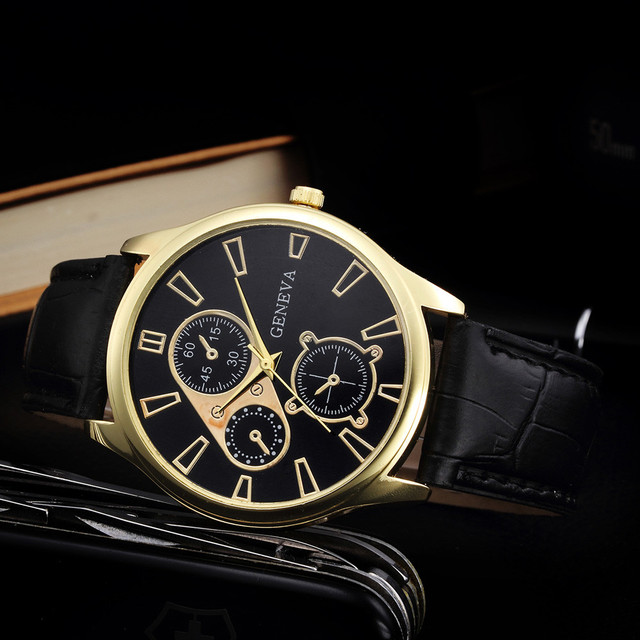 2017 Wholesale Gold Case Mens Watches Top Brand Luxury PU Leather Analog Quartz Watch 3 Eyes Big Dial Business Men Watch Gift