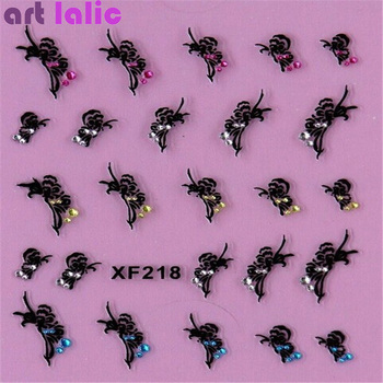 1 Sheet Fashion 3d Nail Art Sticker Nails Decal Butterfly and Flower with Rhinestones Charms DIY Decoration Manicure Tools 1