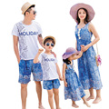 2017 Summer family matching clothes dress blue mother Daughter dresses father son Sets short sleeve T shirt & Shorts Holiday
