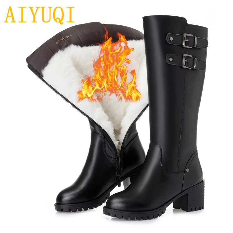 AIYUQI platform boots women winter 2018 new genuine leather women motorcycle boots,high-heeled fashion thick wool boots women, 2016women s genuine leather boots high heeled winter boots designer wool lining motorcycle boots thick snowshoe free shipping