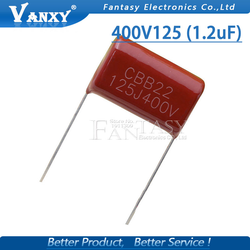 10PCS 400V125 1UF Pitch 20MM 400V 125 1.2uF CBB 125J400V Polypropylene Film Capacitor
