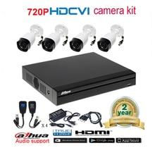 Dahua original 720P DH-HAC-HFW1000R waterproof CVI IR Bullet Security Camera with H.264 4CH CVI DHI-XVR4104HS camera kit